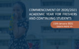 Commencement of 2020/2021 Academic Year for Freshers and Continuing Students